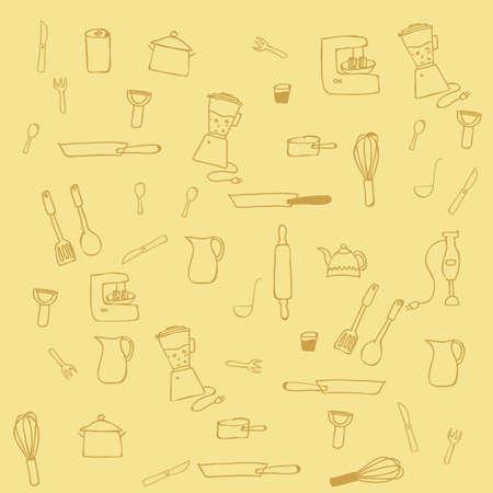 cookware: Utensilios de cocina de fondo. Vectores