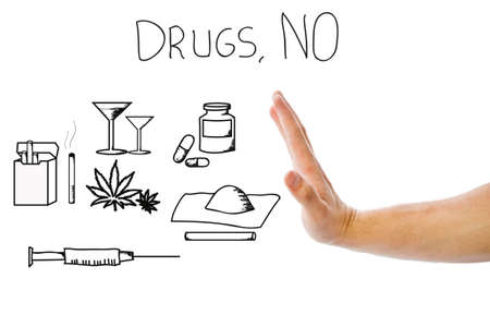 Different types of drugs. Hand saying NO.