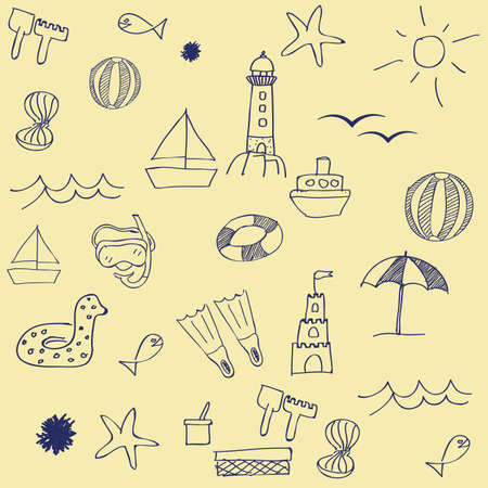 snorkelling: Utensils for a day at the beach Illustration
