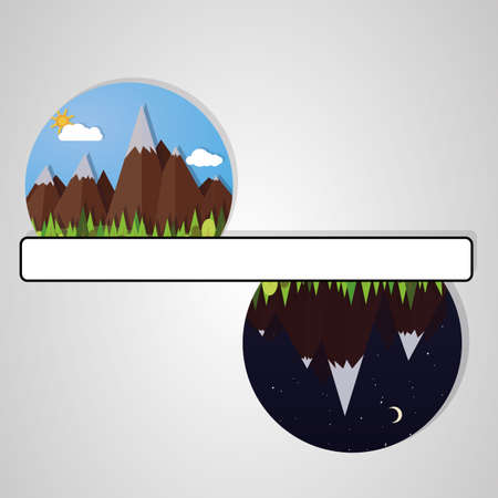 mountain pass: illustrations mountains night and day. vector image Illustration