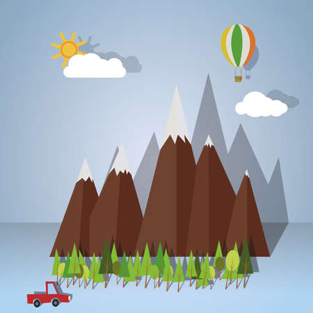 Landscape of paper representing trip down the mountain. vector image Vector