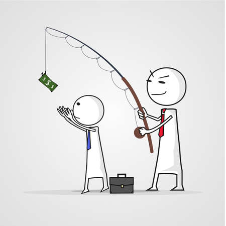 head with a fishing rod with money.