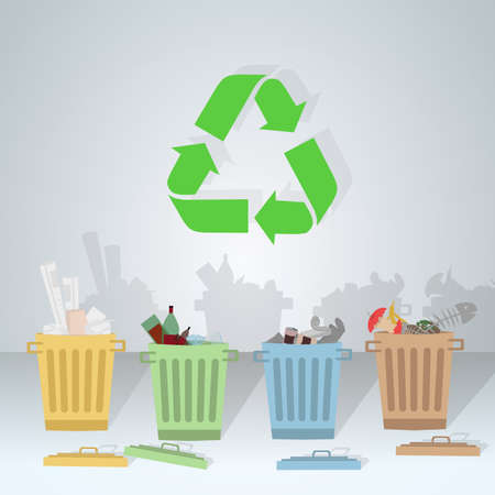 recycling bottles: Separate waste in its corresponding color for recycling Illustration
