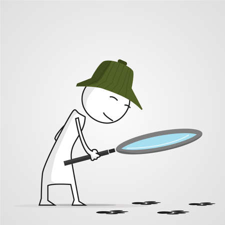 Detective on the trail with a magnifying glass. vector image Illustration