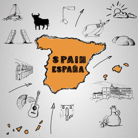spanish bull: Elements of Spanish culture around the map. vector image