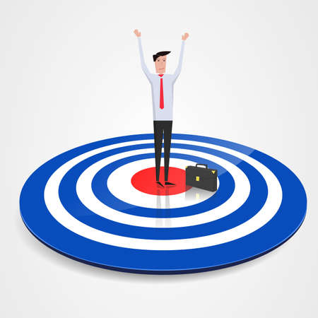 achieved: Business man at the center of a target with the goal achieved. vector image Illustration