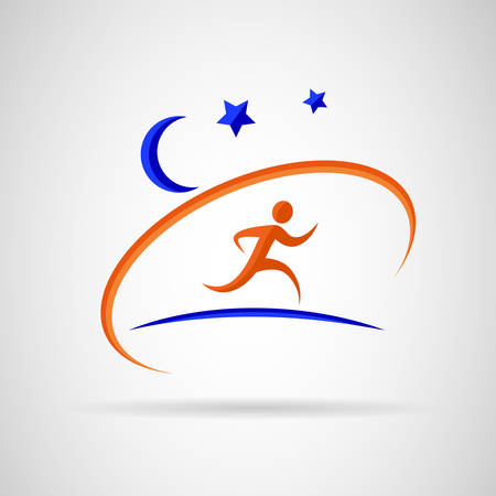 Person running under stars. Reklamní fotografie - 34600930