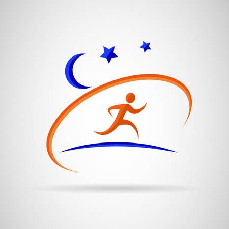 Person running under stars.