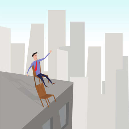 occupational: Man on the edge of a building sitting on two chairs. Occupational hazard. Illustration