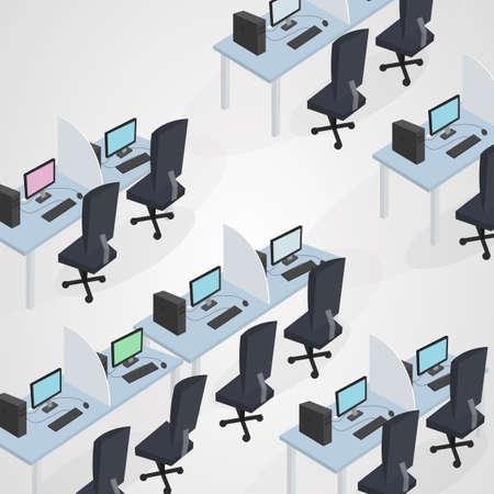 Tables et chaises pour les ordinateurs de bureau.