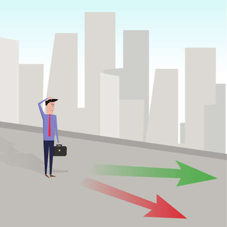 deciding: Businessman deciding which is the right path. vector image Illustration