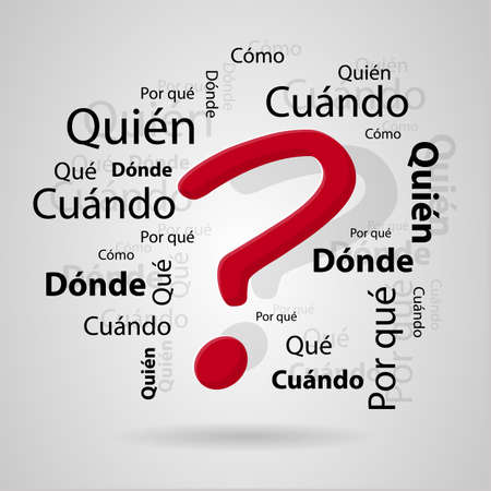 questioning: Interrogative particles in Spanish. vector image