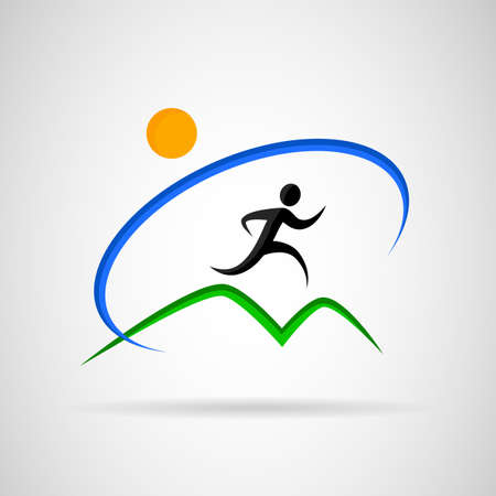 sport training: icon man running under the sun.