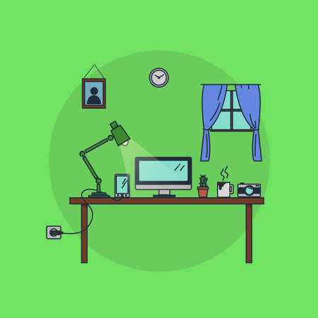 work from home: Desk with everything you need to work from home. Illustration