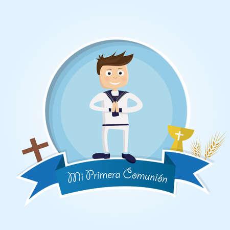 Invitation card for first communion Illustration