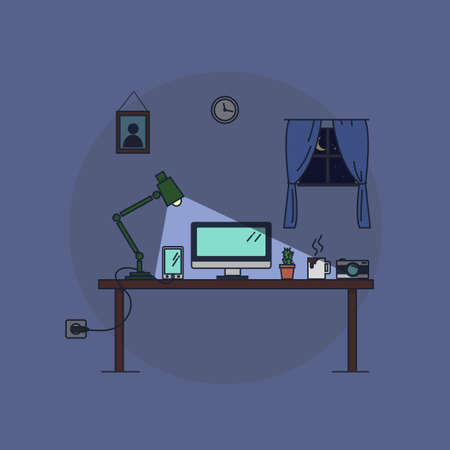desk worker at home, at night Vector
