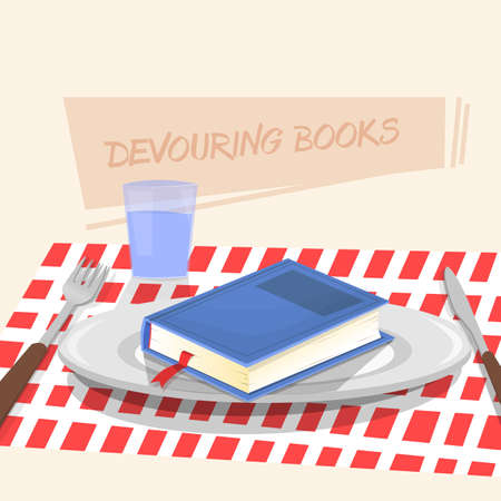 dinner plate: Dinner plate with knife and fork. Eating, book. Illustration