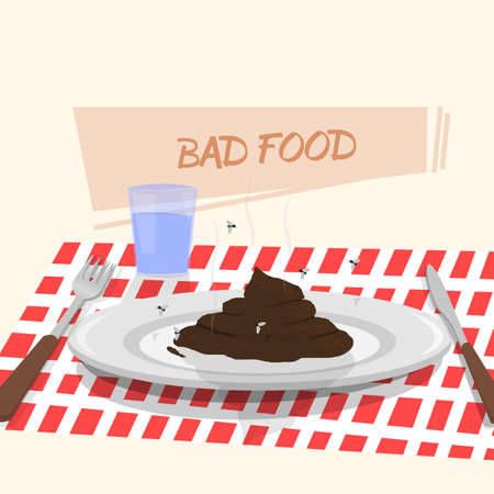 shit: Dish with shit to eat. Illustration