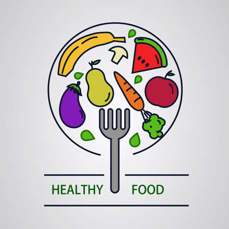 Fork clicking healthy foods. Fruits and vegetables.