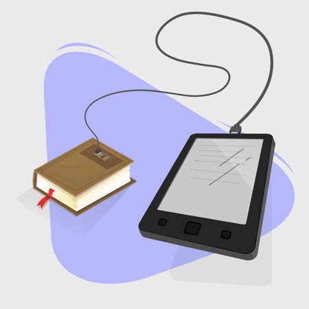 book reader: Book reader connected to a physical book