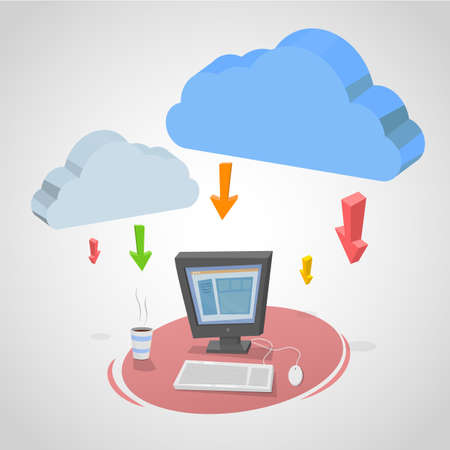 simulating: Illustration of a computer and internet clouds with arrows simulating downloads. Illustration