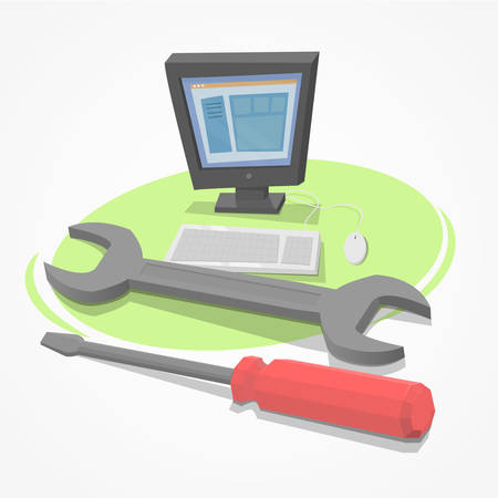 setup man: Desktop pc with tools for repair Illustration