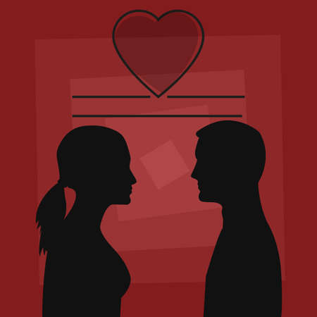 siluette: Silhouettes of a man and a woman in black on a background in shades of red forming squares. Heart above their heads with hole to insert text.