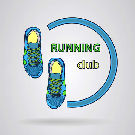 forming: sneakers forming a logo. Vector image Illustration