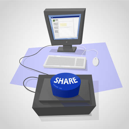 quickly: Desktop computer with a giant blue button to share online content quickly. Illustration