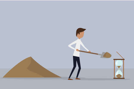 economic recovery: Businessman throwing sand with a shovel inside the hourglass. Background of two shades of blue. Illustration