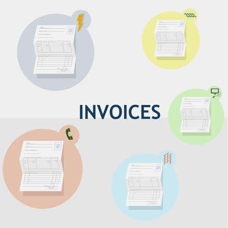 INVOICE: Household bills of different consumption. Water electricity heating telephone and internet. Each invoice is inside a circle of color with its corresponding icon. Illustration