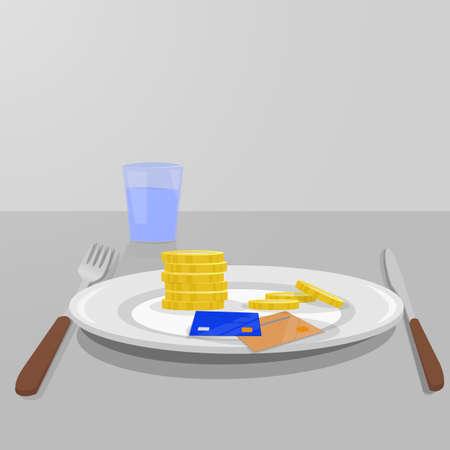 facture restaurant: Cuisine vaisselle avec de l'argent pour la nourriture. Couteau et une fourchette et un verre d'eau. fond gris Illustration