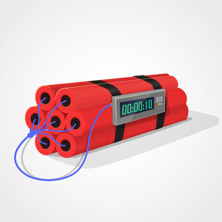detonator: Red Dynamite and digital chronograph to explode. Light gray background.