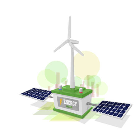 Green battery storing energy produced by the wind generator and solar generator. Background mimicking nature with green colors. Stock Illustratie