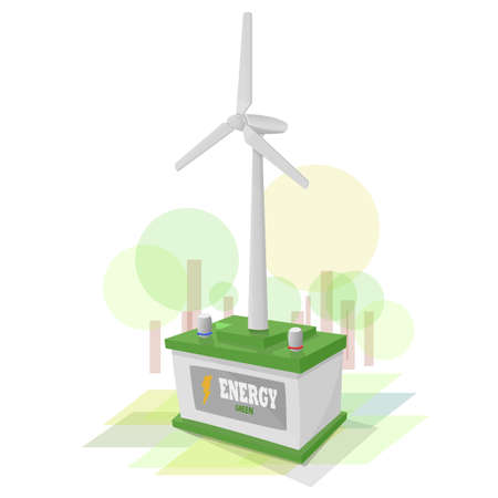 storing: Green battery storing energy produced by the wind generator. Background mimicking nature with green colors. Illustration