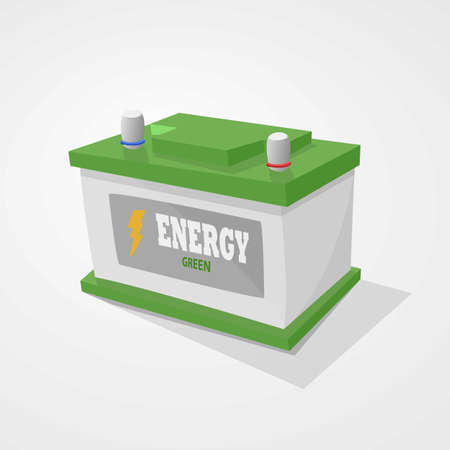 accumulator: Accumulator green representing clean energy. Light gray background. Illustration