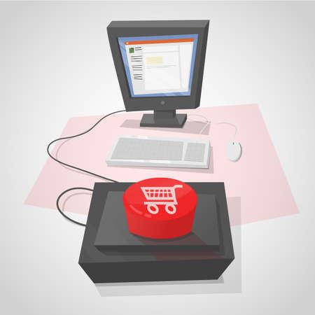 compras compulsivas: Computadora de escritorio con un botón rojo para hacer compras rápidamente.