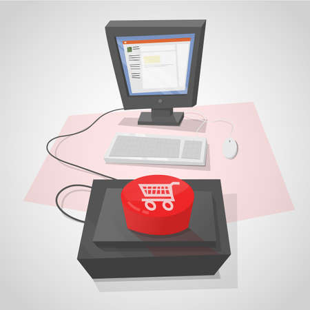 quickly: Desktop computer with a red button to make purchases quickly.