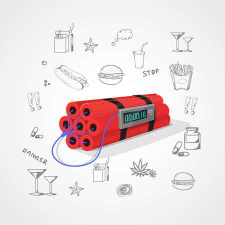 eating habits: Red Dynamite with digital stopwatch on light gray background. Images related to unhealthy life around dynamite.