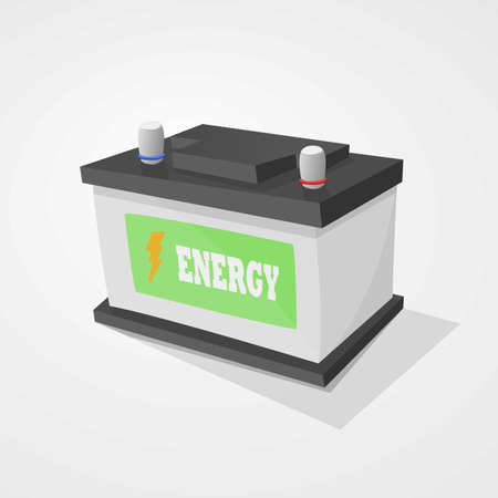 battery acid: Car battery black and gray on light gray background.