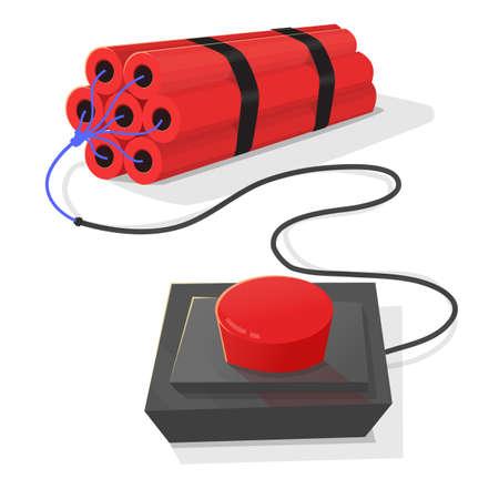 Dynamite detonator and red on light gray background.
