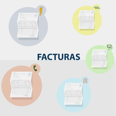 Household bills of different consumption. Water, electricity, heating, telephone and internet. Each invoice is inside a circle of color with its corresponding icon. Spanish text Invoices Illustration