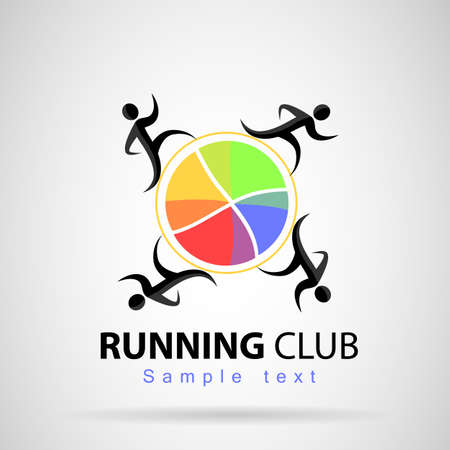 circumference: Silhouette of four runners running around a circumference of colors with a yellow line.