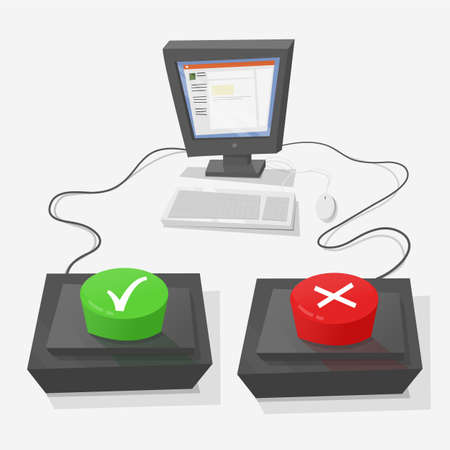 false: Personal computer with two buttons in front to answer true or false. True is green, and red false.