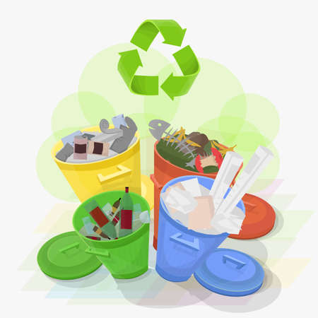 produce energy: Four bins each with its corresponding trash to recycle properly and produce energy Illustration