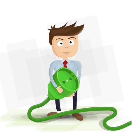 茶髪: 緑の電気プラグを保持している茶色の髪を持つ男。白い背景上のボックス