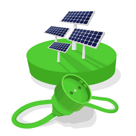 Solar plant with plug to get energy from the sun Stock Illustratie