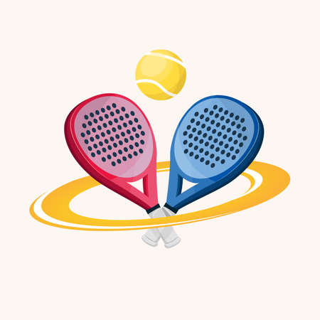 Two paddle tennis rackets. One blue and one pink with a ring around