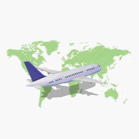 Avión volando sobre el mapa de color verde.
