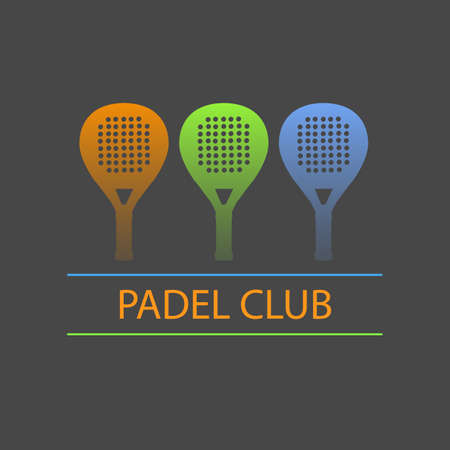 Three paddle rackets in blue, green and orange forming